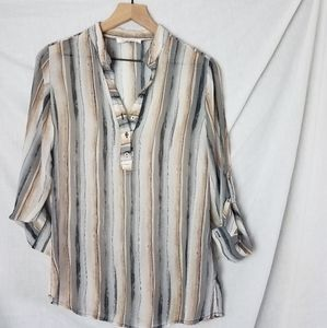 Quintessential Sheer Blouse - Small - Gray Beige